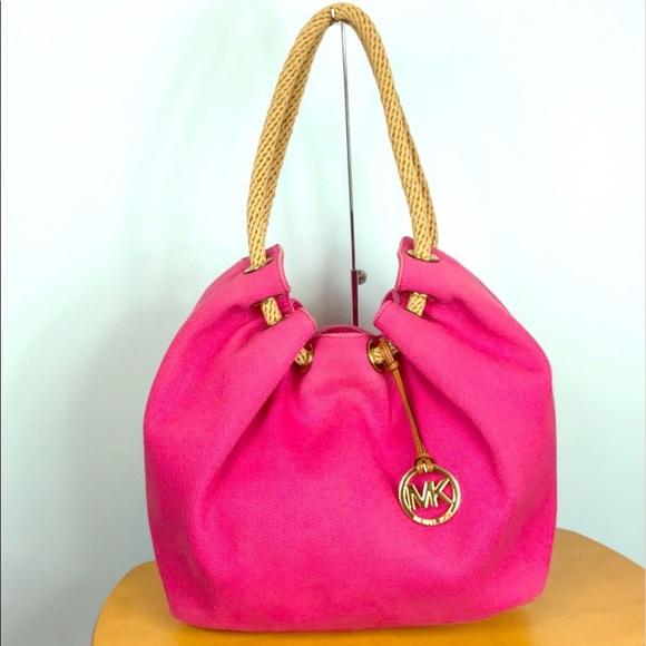 4290240b23 ... 50% off michael kors pink canvas marina drawstring bag 31be2 edc35